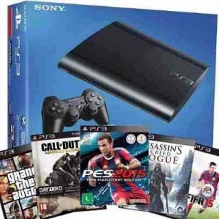 CONSOLE SONY PLAYSTATION 3 500GB COM 65 JOGOS